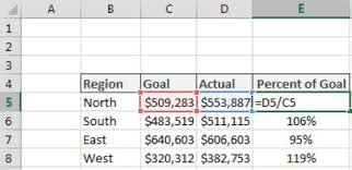 Calculating Percent Of Goal In Excel Dummies