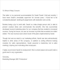 Employment Reference Letter Template Sample