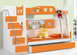 Cute Orange and White Themes with Double Deck Bunk Bed Designs for Small Kids  Bedroom Furniture