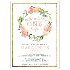 Birthday Invatations Floral Wreath Onederful 1st Birthday Invitations