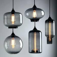 glass blown pendant lighting modern industrial smoky grey shade loft cafe light ceiling lamp lights blue