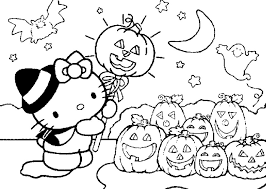 Small Picture Cute Halloween Coloring Pages For Kids Hello Kitty Hallowen