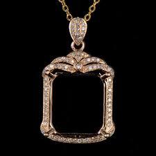 details about natural diamond semi mount pendant settings emerald cut 13 12mm 14k yellow gold