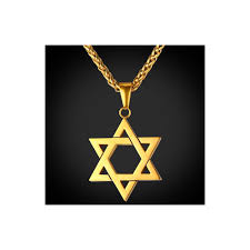 collare magen star of david pendant israel chain necklace women stainless steel judaica gold black color jewish men jewelry p813 metal color gold plated