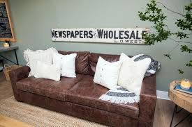 brown leather living room sofa with