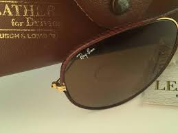 new vintage ray ban leathers aviator 62mm in brown leather with gold metal combination frame