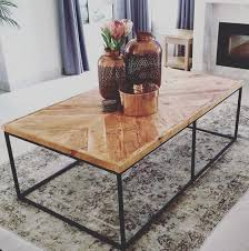 steel base coffee table bleached
