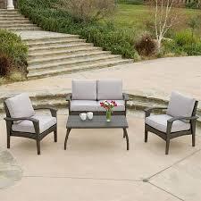 best ing home decor honolulu 4 piece wicker frame patio conversation set with light grey