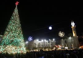 bethlehem lighting christmas trees. WATCH: Town Of Bethlehem Lights Up Christmas Tree Next To The Church Holy Nativity - Christian News Jerusalem Post Lighting Trees
