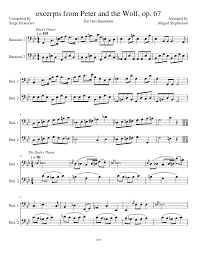 bassoon sheet music excerpts from peter and the wolf op 67 sheet music for bassoon