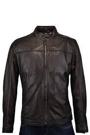 hugo boss black hugo boss black niwen leather jacket brown
