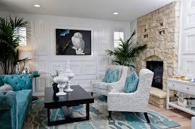 aqua blue and grey living room