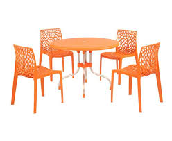 supreme beautiful orange outdoor 4 chair 1 round table set