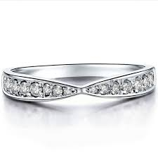 infinity band. solid white gold infinity band sona simulate diamond ring bridal jewelry marriage matched 14k n
