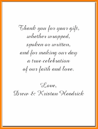 Thank You Note Examples Example Of Thank You Notes Wedding Thank You Note Examples Headrick