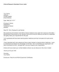 Sample Research Cover Letter Cover Letter For Clinical Research Assistant Under