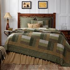 New Country Rustic LOG CABIN QUILT Olive Green Tan Brown Queen ... & New Country Rustic LOG CABIN QUILT Olive Green Tan Brown Queen Bedspread Adamdwight.com