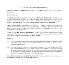 Guaranteed Investment Contract Template Business Investment Contract