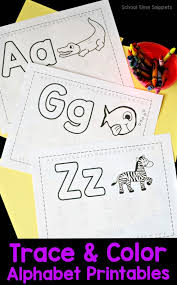 They give your child the opportunity to trace the lines of the picture before colouring it in, familiarise themselves with the formation of the letter with finger tracing at the top of the page, and then practice tracing the letters, both upper and lower case. Free Trace Color Alphabet Printables School Time Snippets