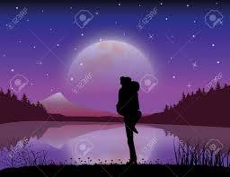 romantic moonlight beautiful vector ilrations stock vector 71440732