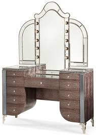 Michael Amini Hollywood Swank Upholstered Vanity with Mirror ...