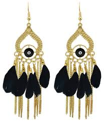 gold color with colorful feather chandelier earrings black