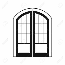 door clipart black and white. Double Door Icon In Simple Style On A White Background Stock Vector - 57311665 Clipart Black And N