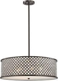 elk 32106 6 genevieve oil rubbed bronze drum pendant hanging light loading zoom