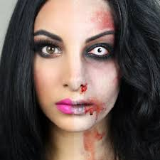 with this half zombie makeup you ll be the envied one at this years party