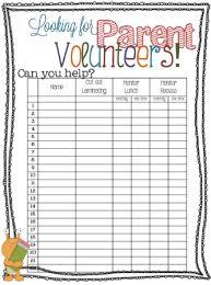 Parent Volunteer Sign Up Sheet More Free Printables