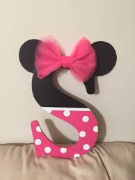 Pink Minnie Mouse Bedroom Decor I Bought A Black Letter S And Painted The Bottom Half Pink With