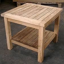 teak patio coffee table with lower shelf