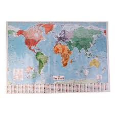 New Arrived Large World Map Home Decoration Detailed English French Wall Chart Teaching Poster