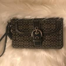 Coach Wristlet - Black Monogram Buckle