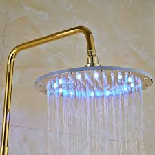 catawba gold finish wall mounted round led rainfall shower head with handheld shower tub spout