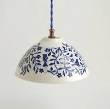 view in gallery white and blue porcelain pendant from sue canizares ceramics