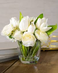 White Tulip and Ranunculus Arrangement