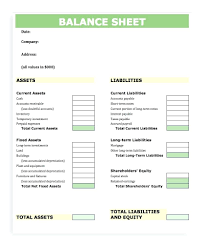 template: Microsoft Excel Balance Sheet Template