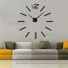 modern mute 3d frameless large wall clock diy room home decorations 3m001 black