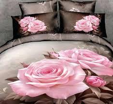 duvet covers pink and grey 3d pink rose bedding sets fl duvet cover ed bed sheet