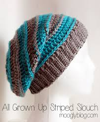 Hipster Beanie Crochet Pattern Best Free Pattern All Grown Up Striped Slouch Hat