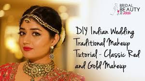 diy indian wedding makeup tutorial clic red and gold makeup clista you