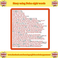 a short story that uses mainly dolce sight words