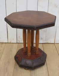 art deco leather studded side table 1 of 8