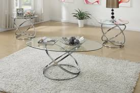 3PCS Modern Glass Top Coffee End Table Set With Spinning Circles Base Design Design Inspirations
