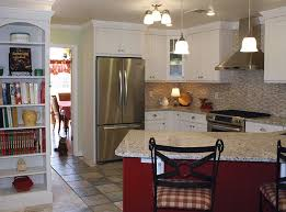 Red Beadboard Perks Up Traditional White Shaker Kitchen Cabinets