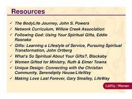 resources the bodylife journey john s powers network curriculum willow creek ociation following using your spiritual gifts ed rasnake