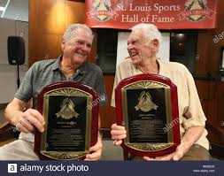 Don Larsen, (R) a former member of the St. Louis Brown's and the only  person to