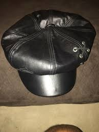 harley davidson hat black leather size large new