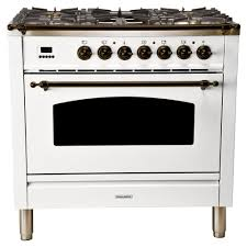 single oven italian gas range with true convection 5 burners griddle lp gas bronze trim in white